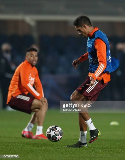 Raphael Varane and Mariano Díaz from Real Madrid CF at Bérgamo training ground on February 23, 2021 in Madrid, Spain.