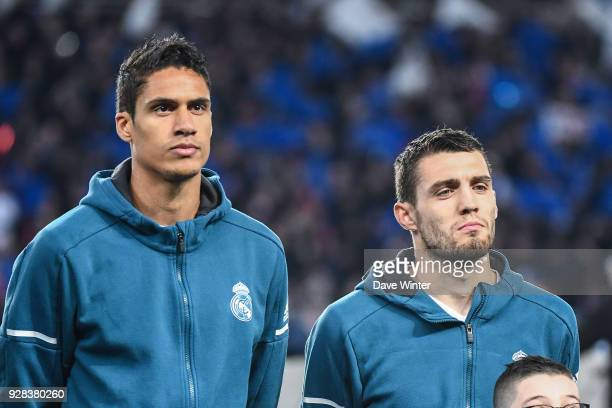 Raphael Varane and Mateo Kovacic of Real Madrid during the UEFA Champions League Round of 16 Second Leg match between Paris Saint Germain and Real...
