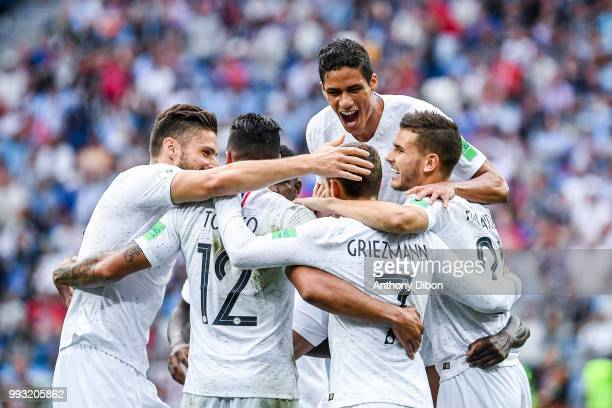 Raphael Varane and team of France celebrate the goal of Antoine Griezmann during 2018 FIFA World Cup Quarter Final match between France and Uruguay...