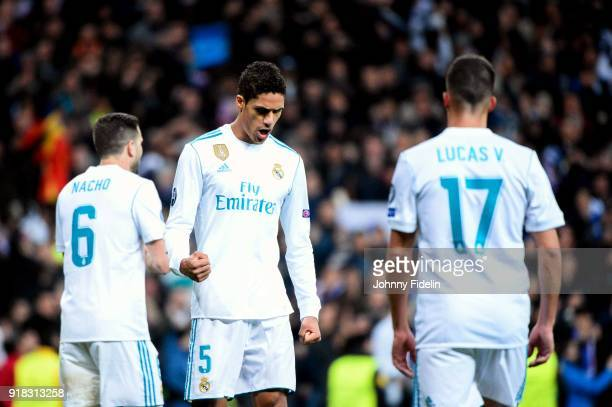 Raphael Varane celebrate the victory after the Champions League match between Real Madrid and Paris Saint Germain at Estadio Santiago Bernabeu on...