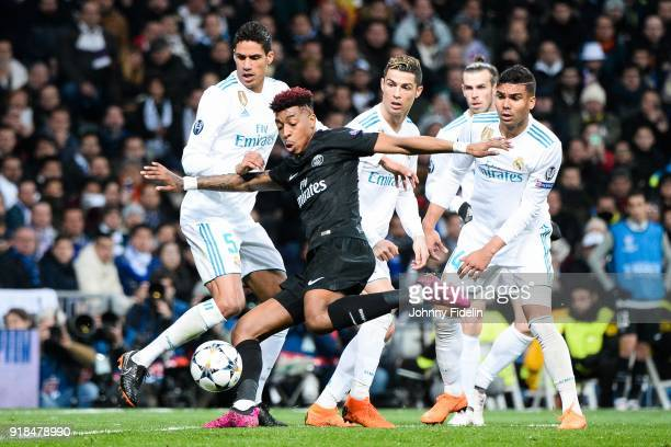 Raphael Varane Cristiano Ronaldo Gareth Bale and Casemiro of Real Madrid looks Presnel Kimpembe of Paris Saint Germain during the Champions League...