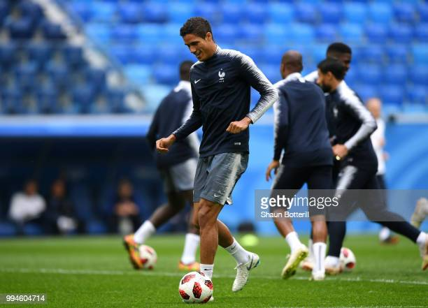 Raphael Varane during a France Training Session and Press Conference at Saint Petersburg Stadium on July 9 2018 in Saint Petersburg Russia