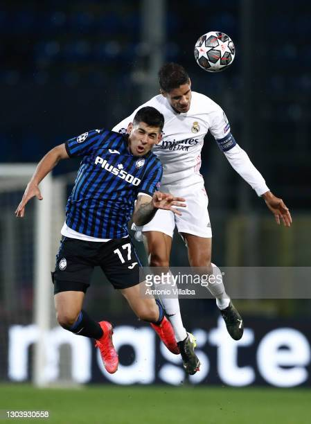 Raphael Varane from Real Madrid CF during the UEFA Champions League Round of 16 match between Atalanta and Real Madrid at Gewiss Stadium on February...