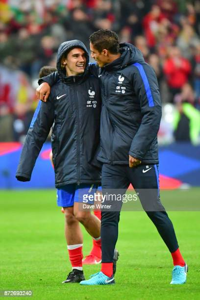 Raphael Varane of France and Antoine Griezmann of France after the international friendly match between France and Wales at Stade de France on...
