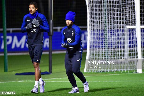 Raphael Varane of France and Nabil Fekir of France during the training session at the Centre National de Football in Clairefontaine en Yvelines...