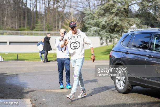 Raphael Varane of France arrives at on March 18 2019 in ClairefontaineenYvelines France