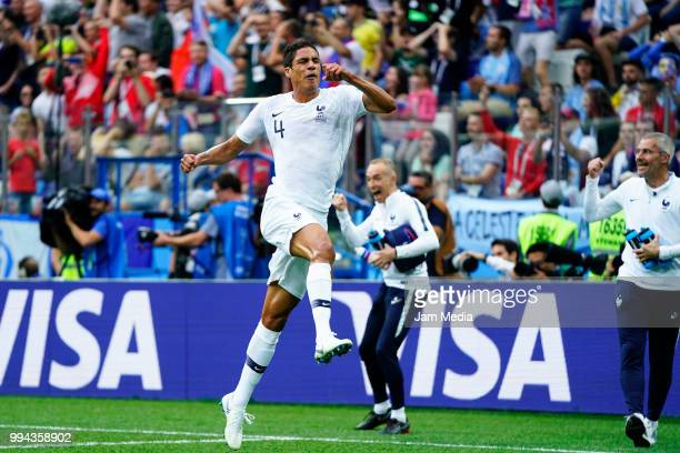 Raphael Varane of France celebrates after scoring first goal of his team during the 2018 FIFA World Cup Russia Quarter Final match between Uruguay...
