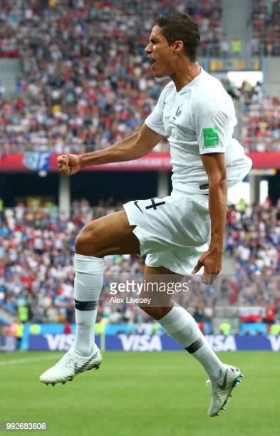Raphael Varane of France celebrates after scoring his team's first goal during the 2018 FIFA World Cup Russia Quarter Final match between Uruguay and...