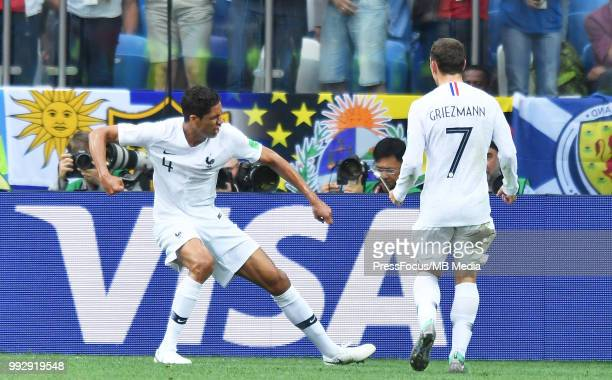 Raphael Varane of France celebrates scoring a goal during the 2018 FIFA World Cup Russia Quarter Final match between Uruguay and France at Nizhny...