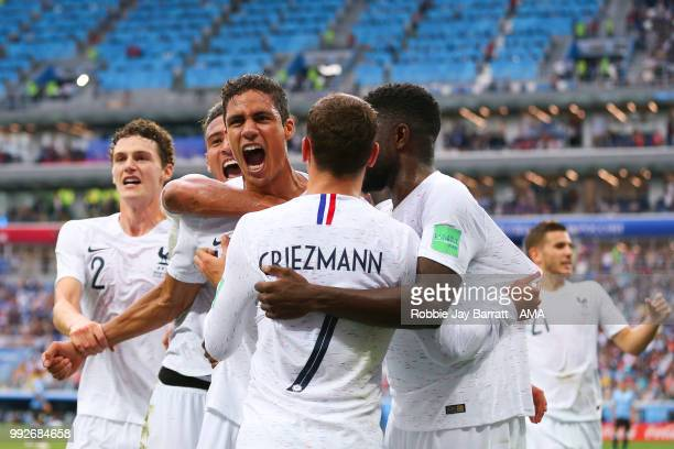 Raphael Varane of France celebrates scoring a goal to make it 0-1 during the 2018 FIFA World Cup Russia Quarter Final match between Uruguay and...
