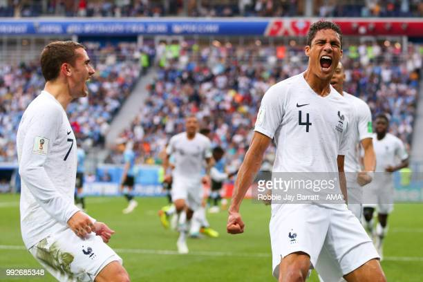 Raphael Varane of France celebrates scoring a goal to make it 01 during the 2018 FIFA World Cup Russia Quarter Final match between Uruguay and France...