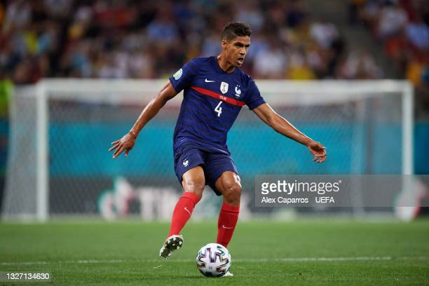 Raphael Varane of France controls the ball during the UEFA Euro 2020 Championship Round of 16 match between France and Switzerland at National Arena...