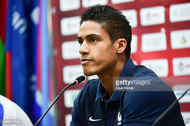 Raphael Varane of France during the France press conference prior to the FIFA World Cup Qualifying match against Belarus on September 5 2016 in Minsk...