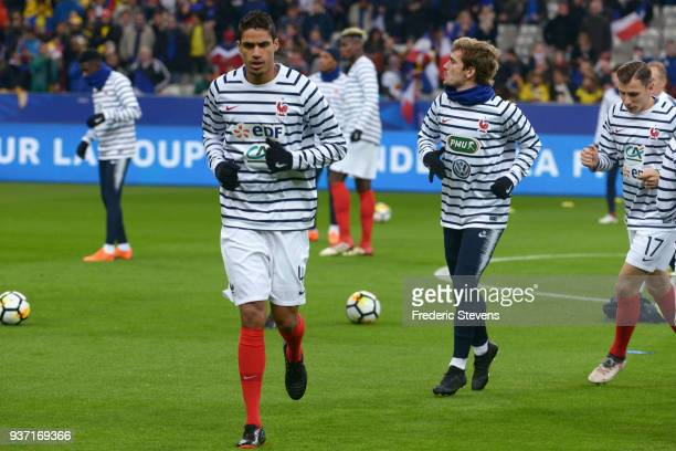 Raphael Varane of France Football team during the warm up before the friendly match between France and Colombia at Stade de France on March 23 2018...