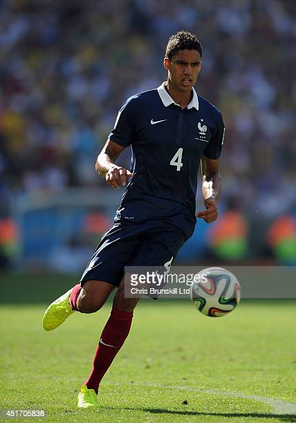 Raphael Varane of France in action during the 2014 FIFA World Cup Brazil Quarter Final match between France and Germany at Maracana Stadium on July...