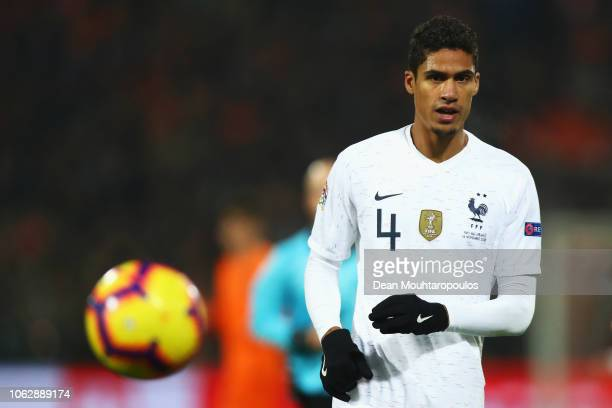 Raphael Varane of France in action during the UEFA Nations League A group one match between Netherlands and France at De Kuip on November 16 2018 in...