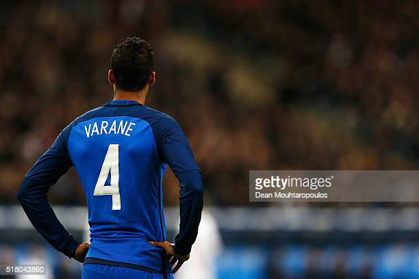 Raphael Varane of France looks on during the International Friendly match between France and Russia held at Stade de France on March 29 2016 in Paris...