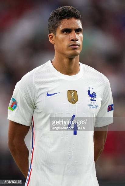 Raphael Varane of France looks on prior to the UEFA Euro 2020 Championship Group F match between Portugal and France at Puskas Arena on June 23, 2021...