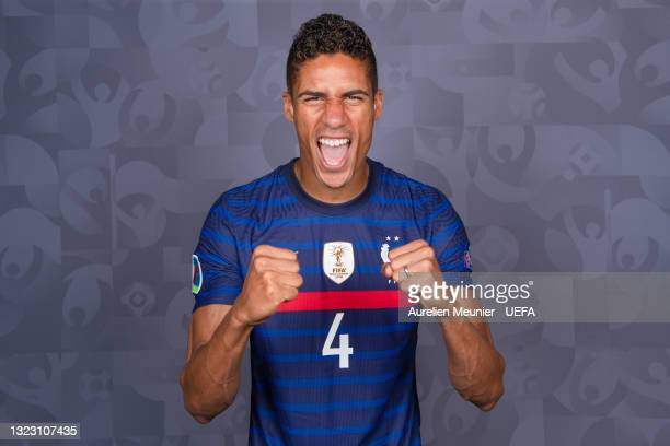 Raphael Varane of France poses during the official UEFA Euro 2020 media access day on June 10, 2021 in Rambouillet, France.