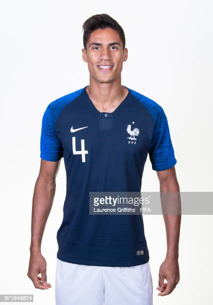 Raphael Varane of France poses for a portrait during the official FIFA World Cup 2018 portrait session at the Team Hotel on June 11 2018 in Moscow...