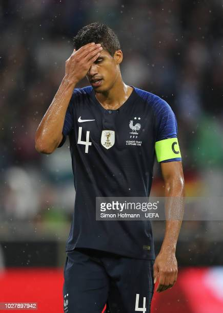 Raphael Varane of France reacts after the UEFA Nations League Group A match between Germany and France at Allianz Arena on September 6 2018 in Munich...
