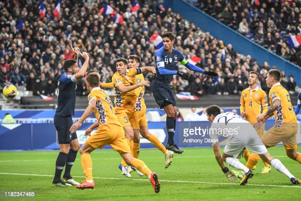 Raphael VARANE of France scores a goal during the Euro Cup Qualification Group H match between France and Moldavie on November 14 2019 in SaintDenis...