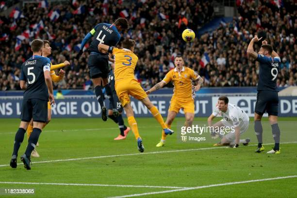 Raphael Varane of France scores his team's first goal during the UEFA Euro 2020 Qualifier between France and Moldova on November 14 2019 in Paris...