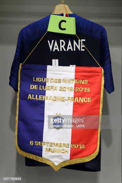 Raphael Varane of France shirt is seen in the changing room prior to the UEFA Nations League Group A match between Germany and France at Allianz...