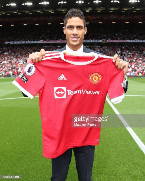Raphael Varane of Manchester United is unveiled as a Manchester United player ahead of the Premier League match between Manchester United and Leeds...
