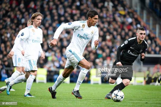 Raphael Varane of Real Madrid and Marco Verratti of Paris Saint Germain during the Champions League match between Real Madrid and Paris Saint Germain...