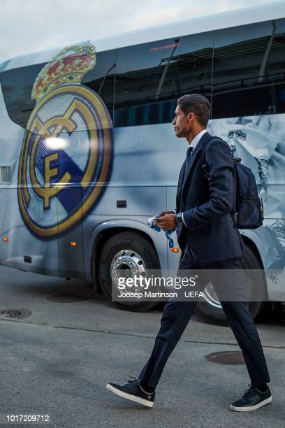 Raphael Varane of Real Madrid arrives to the stadium ahead of the UEFA Super Cup between Real Madrid and Atletico Madrid at Lillekula Stadium on...
