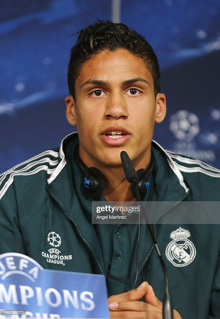 Raphael Varane of Real Madrid attends a press conference ahead of their UEFA Champions League quarter-final first leg match against Galatasaray AS at the Valdebebas training ground on April 2, 2013 in Madrid, Spain.