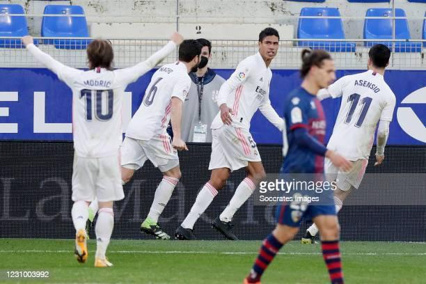 Raphael Varane of Real Madrid Celebrates 1-2 during the La Liga Santander match between SD Huesca v Real Madrid on February 6, 2021