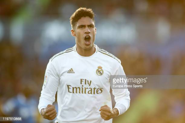 Raphael Varane of Real Madrid celebrates a goal during the Spanish League La Liga football match played between Getafe FC and Real Madrid at Coliseo...