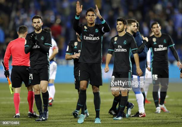 Raphael Varane of Real Madrid celebrates after the Spanish Copa del Rey Quarter Final First Leg match between Leganes and Real Madrid at Estadio...