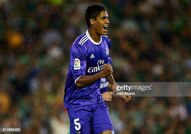 Raphael Varane of Real Madrid CF celebrates after scoring during the match between Real Betis Balompie and Real Madrid CF as part of La Liga at...