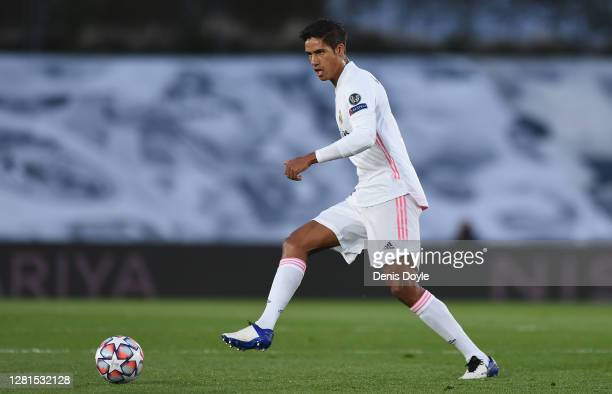 Raphael Varane of Real Madrid CF controls the ball during the UEFA Champions League Group B stage match between Real Madrid and Shakhtar Donetsk at...