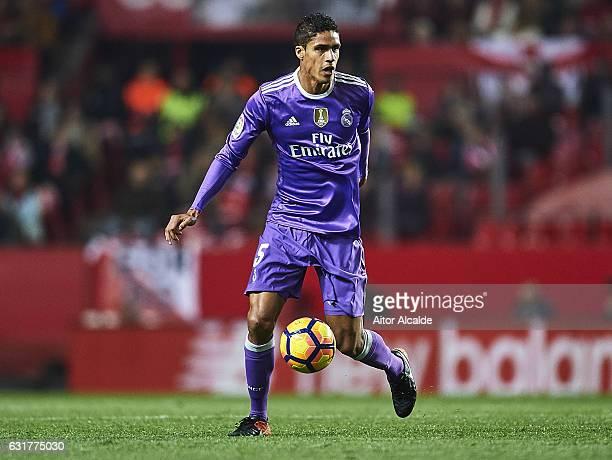 Raphael Varane of Real Madrid CF in action during the La Liga match between Sevilla FC and Real Madrid CF at Estadio Ramon Sanchez Pizjuan on January...