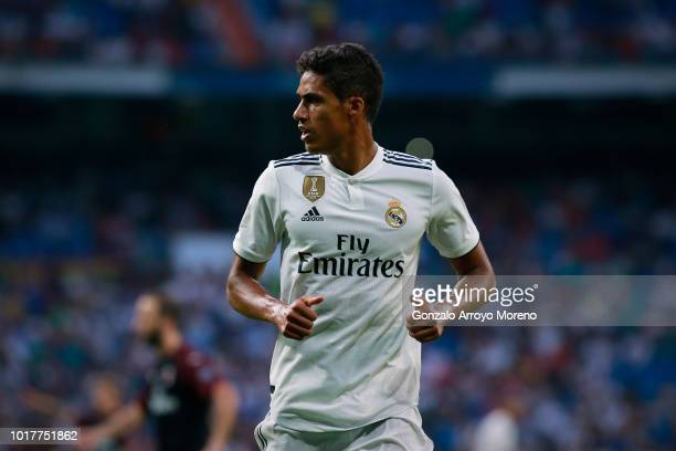 Raphael Varane of Real Madrid CF in action during the Santiago Bernabeu Trophy between Real Madrid CF and AC Milan at Estadio Santiago Bernabeu on...