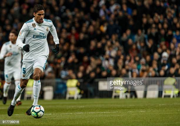 Raphael Varane of Real Madrid controls the ball during the La Liga match between Real Madrid and Real Sociedad at Estadio Santiago Bernabeu on...