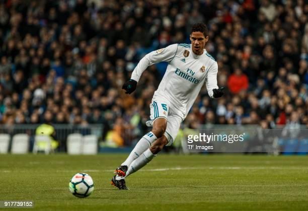 Raphael Varane of Real Madrid controls the ball during the La Liga match between Real Madrid and Real Sociedad at Estadio Santiago Bernabeu on...