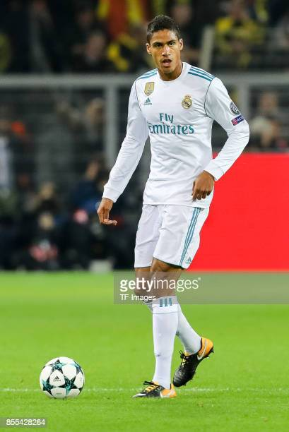 Raphael Varane of Real Madrid controls the ball during the UEFA Champions League group H match between Borussia Dortmund and Real Madrid at Signal...