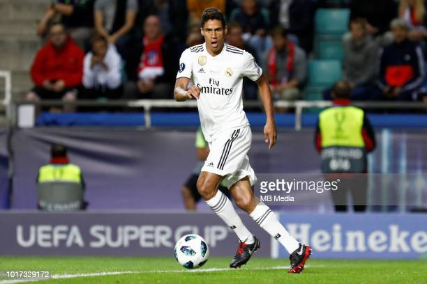 Raphael Varane of Real Madrid controls the ball during the UEFA Super Cup match between Real Madrid and Atletico Madrid at Lillekula Stadium on...