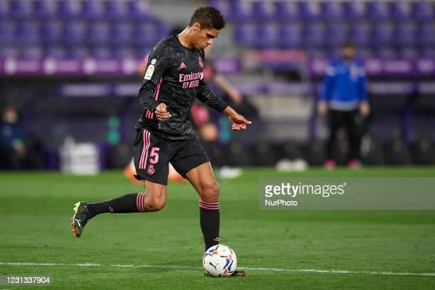 Raphael Varane of Real Madrid does passed during the La Liga Santander match between Real Valladolid CF and Real Madrid at Estadio Municipal Jose...