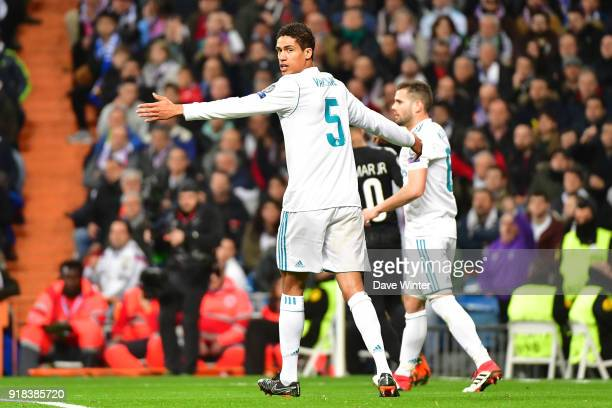 Raphael Varane of Real Madrid during the Champions League match between Real Madrid and Paris Saint Germain at Estadio Santiago Bernabeu on February...
