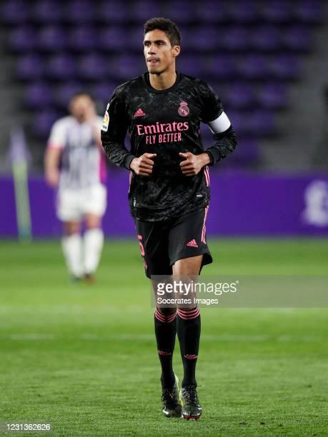 Raphael Varane of Real Madrid during the La Liga Santander match between Real Valladolid v Real Madrid at the Estadio Nuevo Jose Zorrilla on February...
