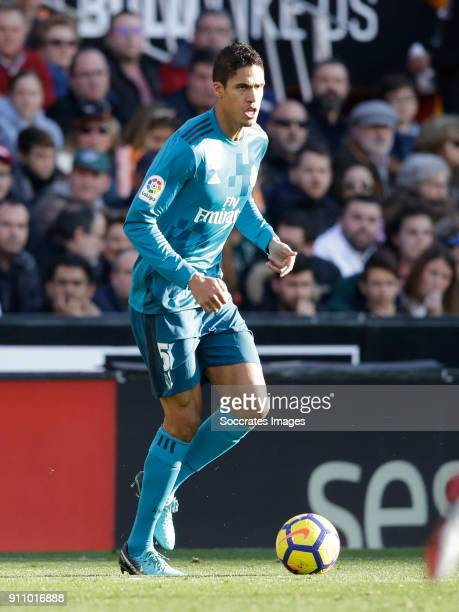Raphael Varane of Real Madrid during the La Liga Santander match between Valencia v Real Madrid at the Estadio de Mestalla on January 27 2018 in...