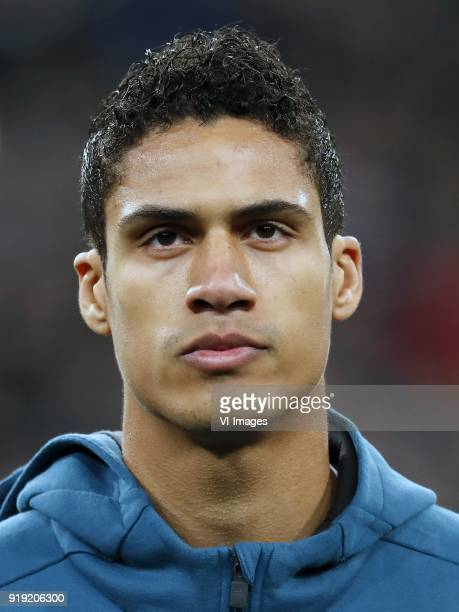Raphael Varane of Real Madrid during the UEFA Champions League round of 16 match between Real Madrid and Paris SaintGermain at the Santiago Bernabeu...