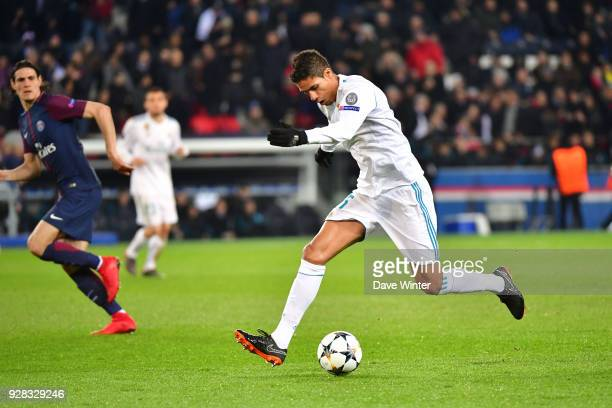 Raphael Varane of Real Madrid during the UEFA Champions League Round of 16 second leg match between Paris Saint Germain and Real Madrid at Parc des...