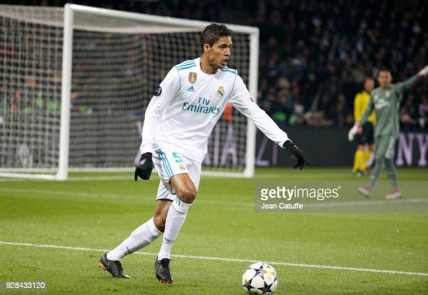 Raphael Varane of Real Madrid during the UEFA Champions League Round of 16 Second Leg match between Paris SaintGermain and Real Madrid at Parc des...